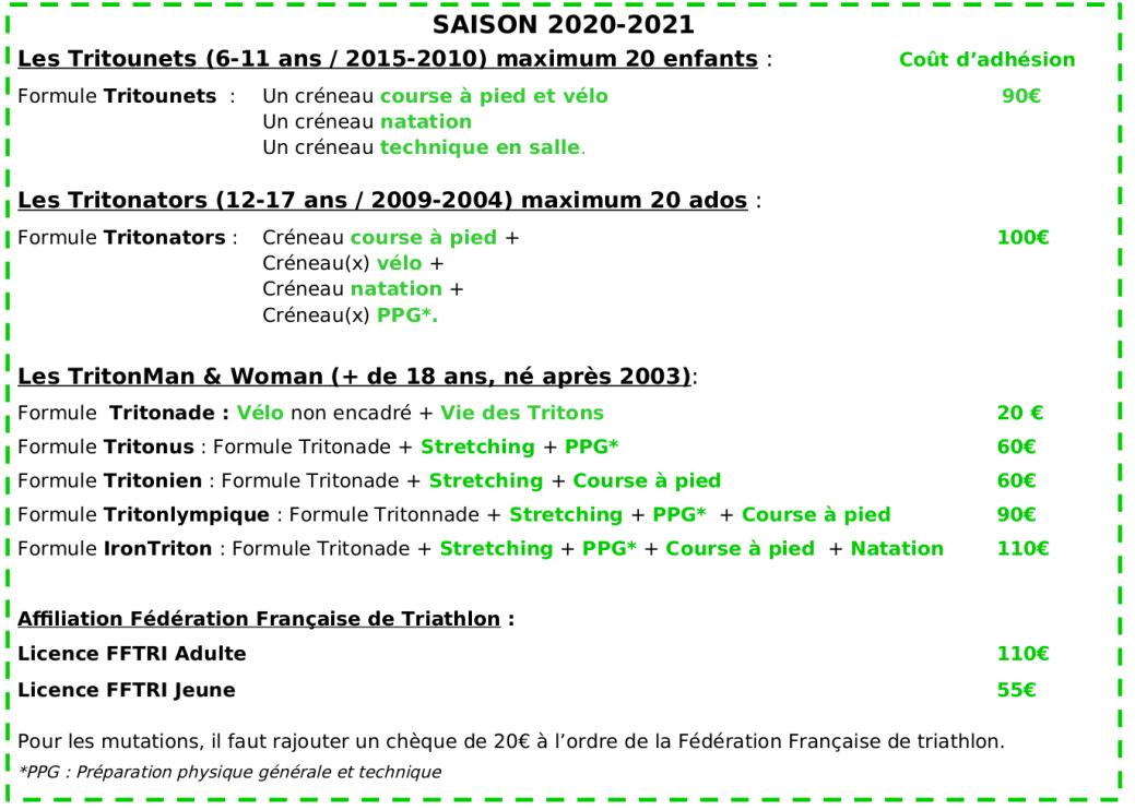 Coût différentes Adhésions 2020-2021