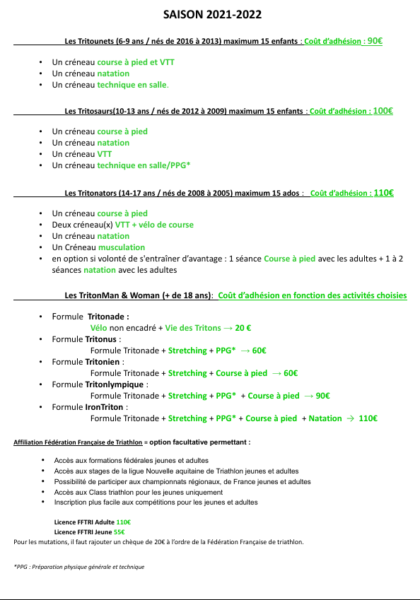 Coût différentes Adhésions 2021-2022
