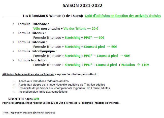 Coût différentes Adhésions adultes 2021-2022